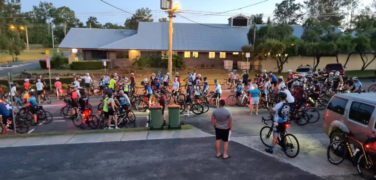 PELOTON: A large group of cyclists set off in the early hours of this morning.